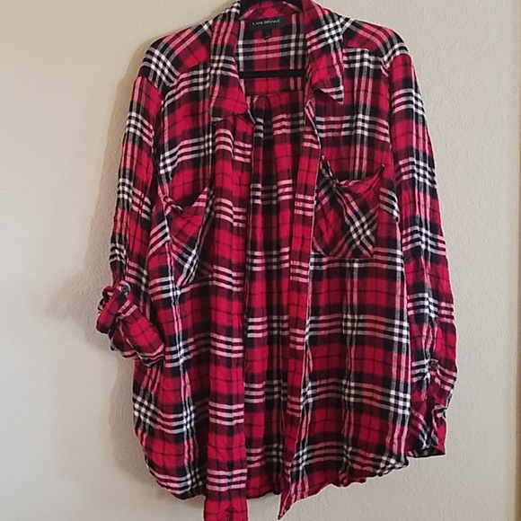 ecf193865f5 Lane Bryant Tops - Lane Bryant 26 plaid shirt red black